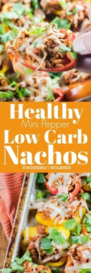 Healthy Mini Pepper Low Carb Nachos are a very easy family meal or great game day idea!! #lowcarb #nachos #gameday