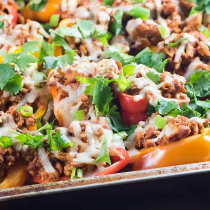 Healthy Mini Pepper Low Carb Nachos on a baking sheet