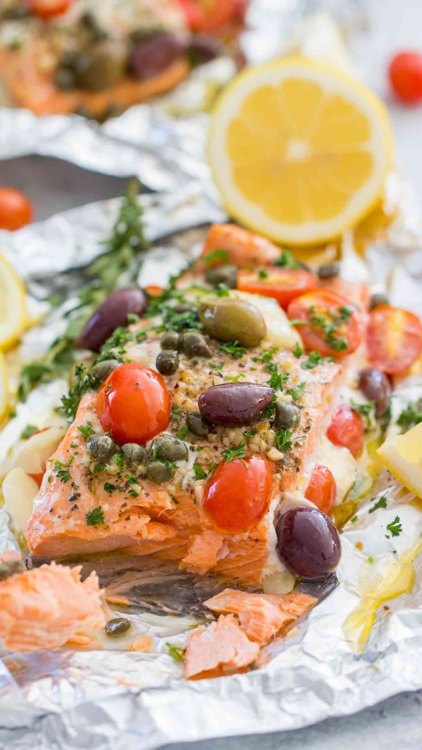 Mediterranean Salmon Foil Packs with lemon