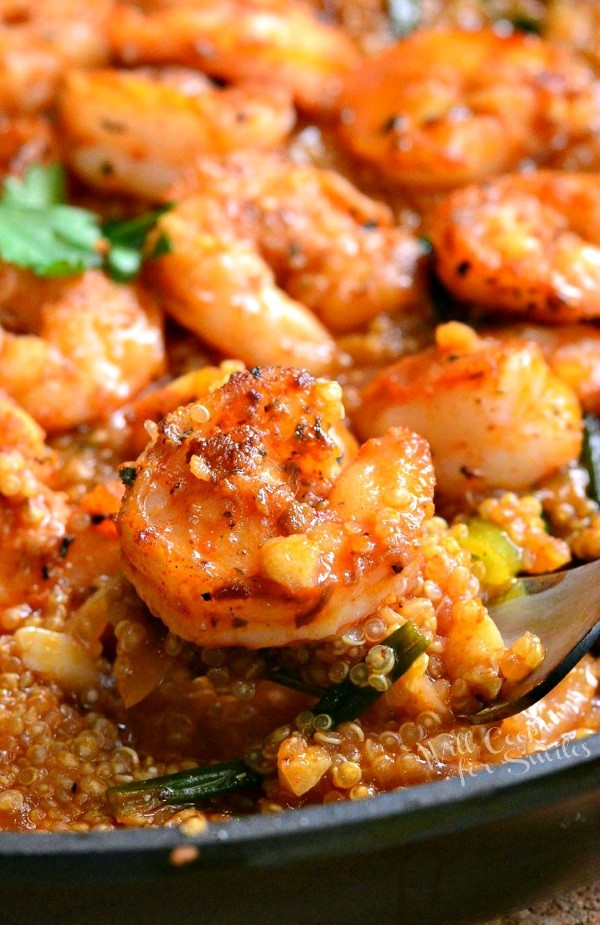 One Pot Cajun Shrimp and Quinoa in a large black dish