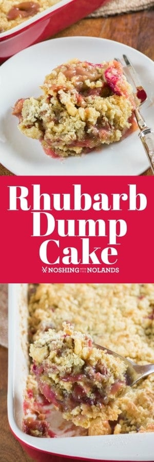This Rhubarb Dump Cake is a super easy dessert that is amazingly delicious! More like a crisp than a cake, this dessert is ready for the oven in a matter of minutes. #rhubarb #dumpcake #easy