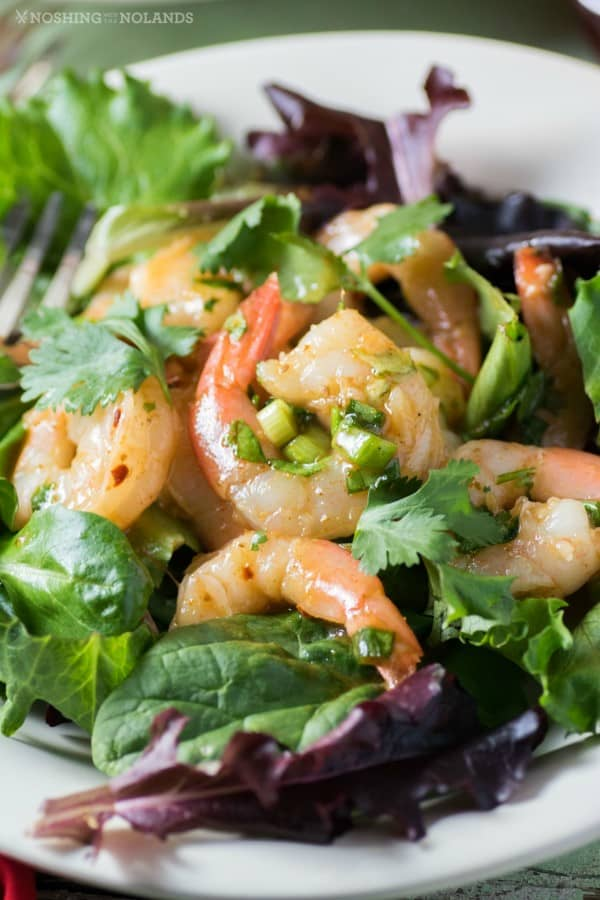 Shrimp Salad with Pineapple Cranberry Marinade in a white bowl