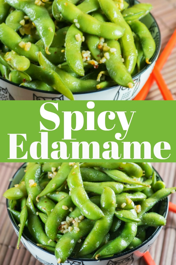 These Spicy Edamame are a simple snack to make that take a matter of minutes to assemble and are a healthy and nutritious alternative to other snacks! #edamame #spicy #healthy #protein