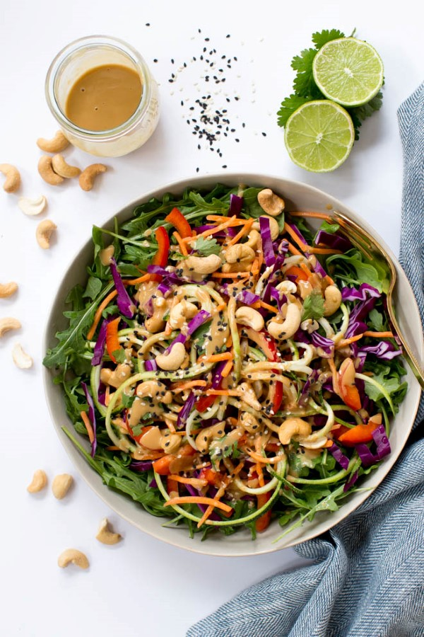 Zucchini Noodle Pad Thai Salad with Sesame-Cashew Dressing in a bowl