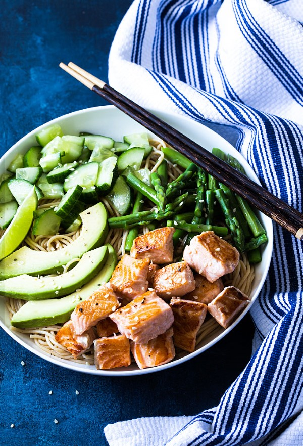 Salmon Noodle Bowls with chopsticks