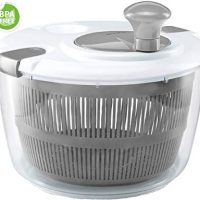 Gourmia GSA9240 Jumbo Salad Spinner - Manual Lettuce Dryer With Crank Handle & Locking Lid, BPA Free and Top Rack Dishwasher Safe,(5L)