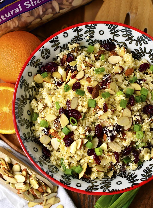 Easiest cauliflower couscous salad in a colorful service bowl