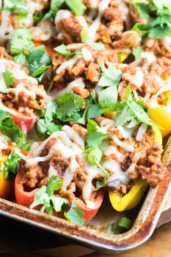 Healthy Mini Pepper Low Carb Nachos on a baking sheet