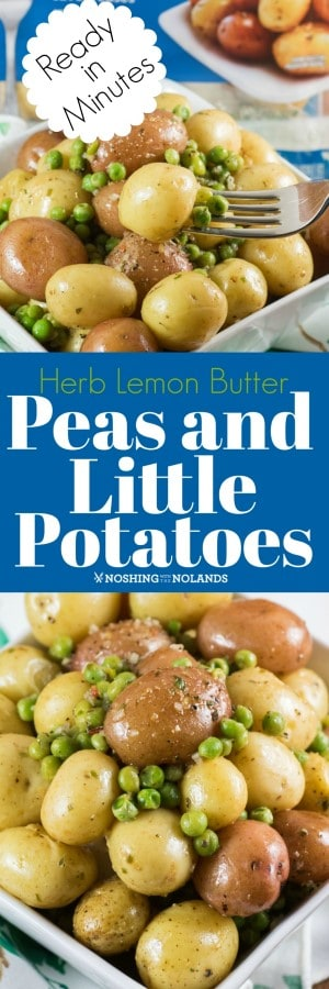 Herb Lemon Butter Peas and Little Potatoes are made and on the table in a matter of minutes!! #ad #microwavepack #littlepotatoes #Creamerpotatoes #spring #sidedish #fastandeasy