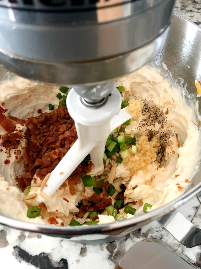 Mixing the ingredients together for the Million Dollar Dip