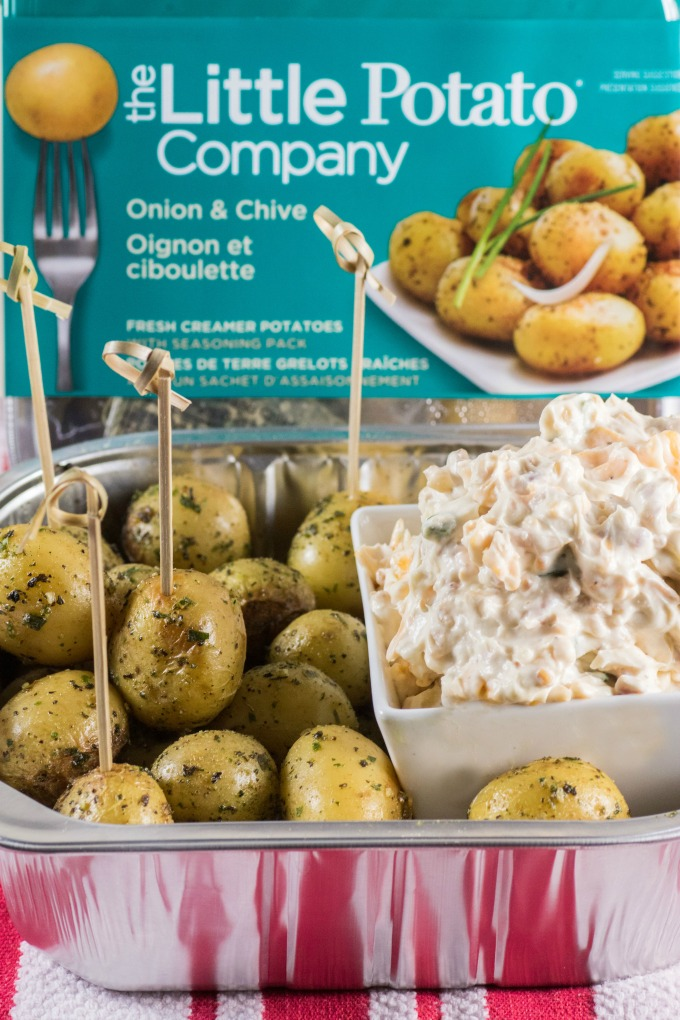 Million Dollar Dip with Roasted Little Potatoes with The Little Potato Company packaging