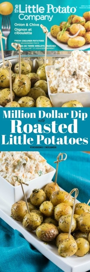 This Million Dollar Dip with Roasted Little Potatoes recipe will be a sure fire hit at any BBQ, house party or picnic!! #littlepotatoes #milliondollardip