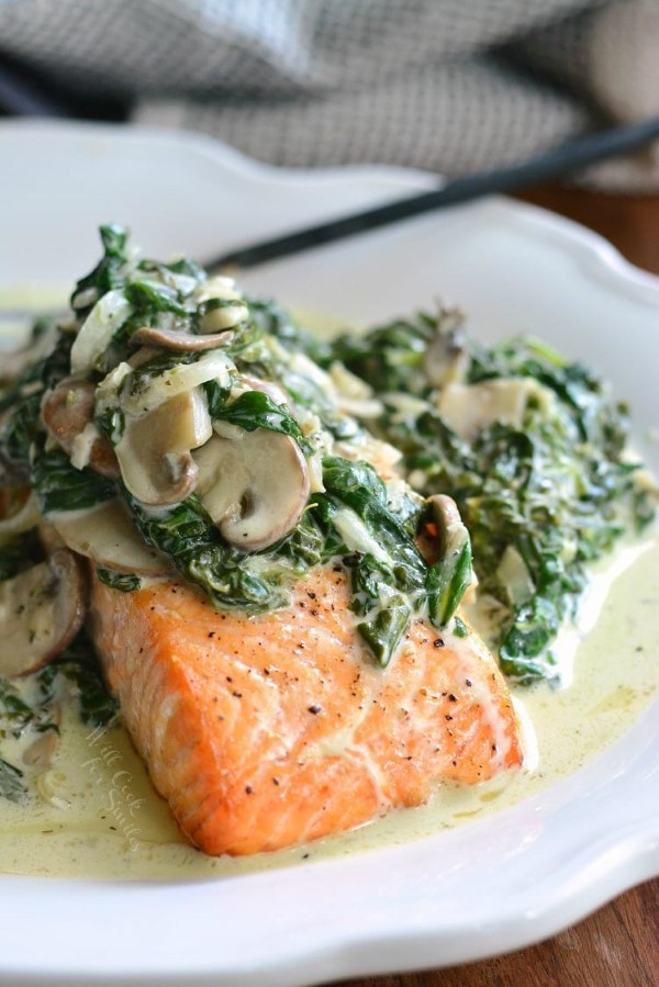 Salmon Florentine on a white plate