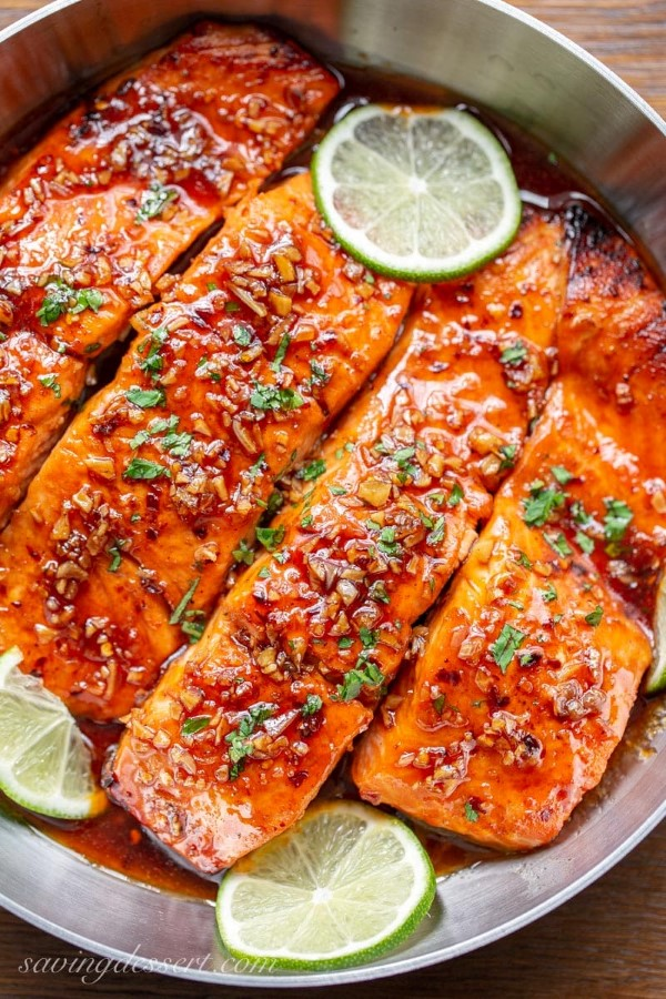 Spicy Honey Glazed Salmon Recipe in a skillet