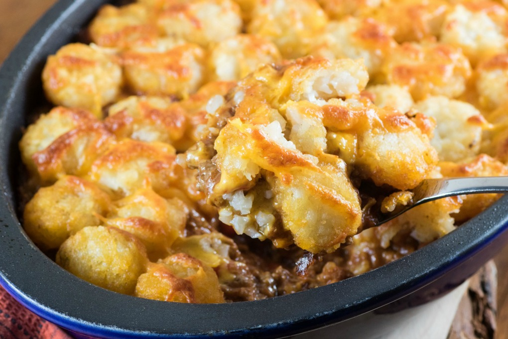 Spooning up Tater Tot Sloppy Joe Casserole