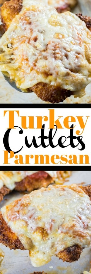 Turkey Cutlets Parmesan are a great makeover recipe using delicious turkey. Crisp on the outside, with ooey gooey cheese and tomato sauce! #ad #turkeyparmesan #turkeycutlets #turkey