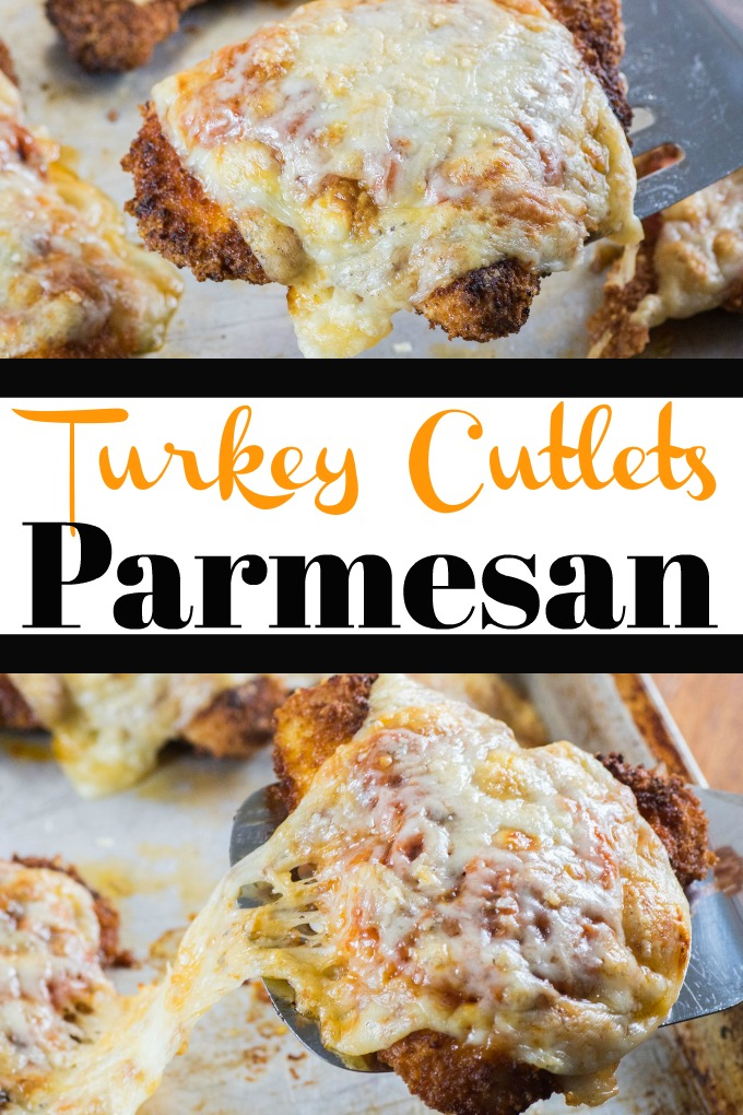 Turkey Cutlets Parmesan are a great makeover recipe using delicious turkey. Crisp on the outside, with ooey gooey cheese and tomato sauce! #turkeyparmesan #turkeycutlets #turkey