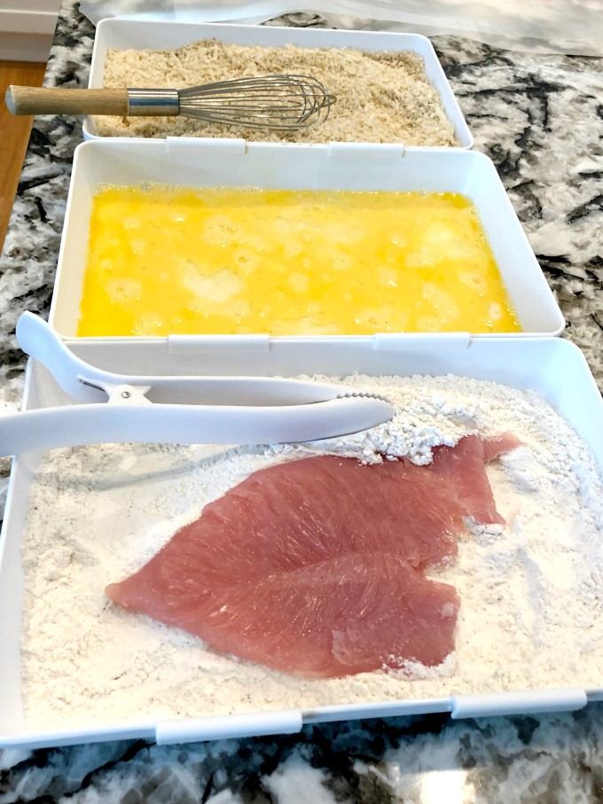 Breading station for turkey cutlets