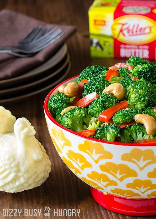 Broccoli with red peppers in a garlic butter sauce