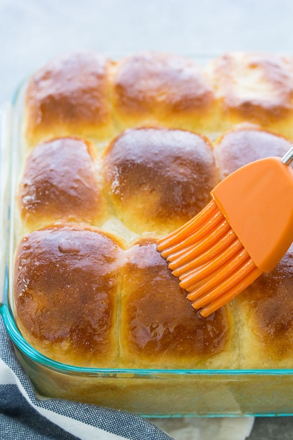 Yeasts buns brushed with butter
