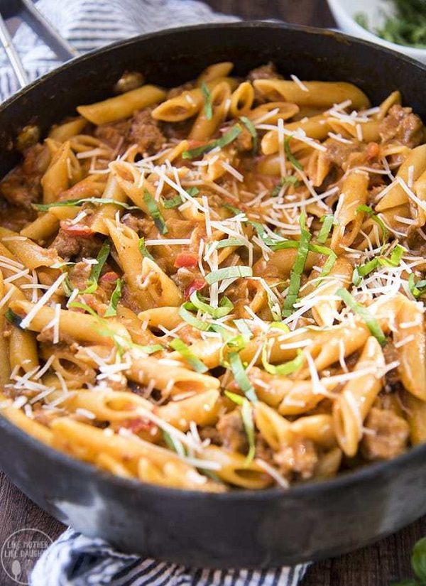 One Pot Sausage Pasta in a skillet