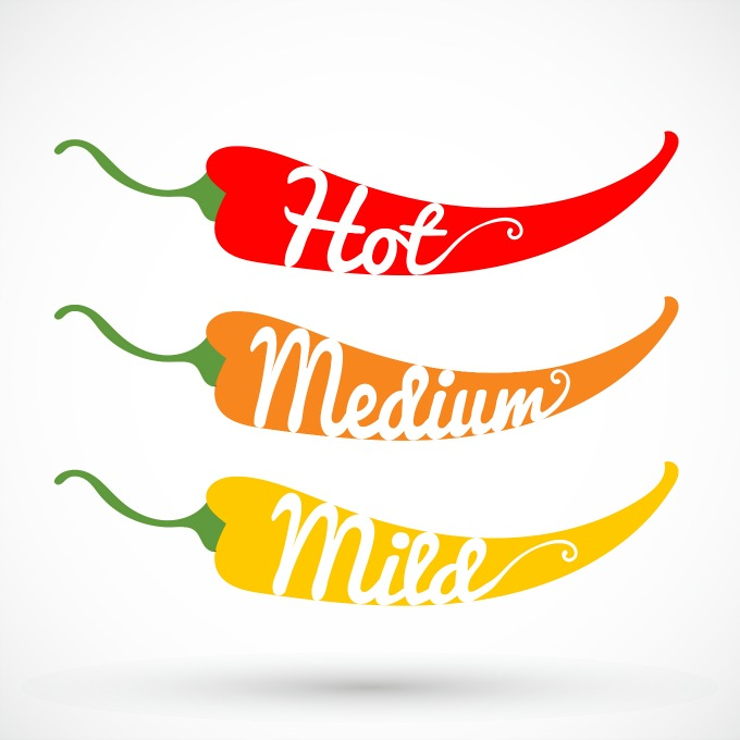 Hot, Medium Mild Pepper Poster