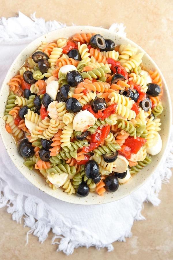 Tri colored pasta salad in a bowl