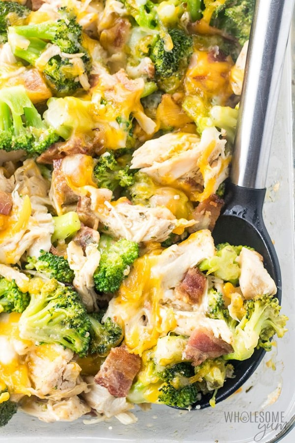 Spooning out Chicken Bacon Ranch Casserole Recipe
