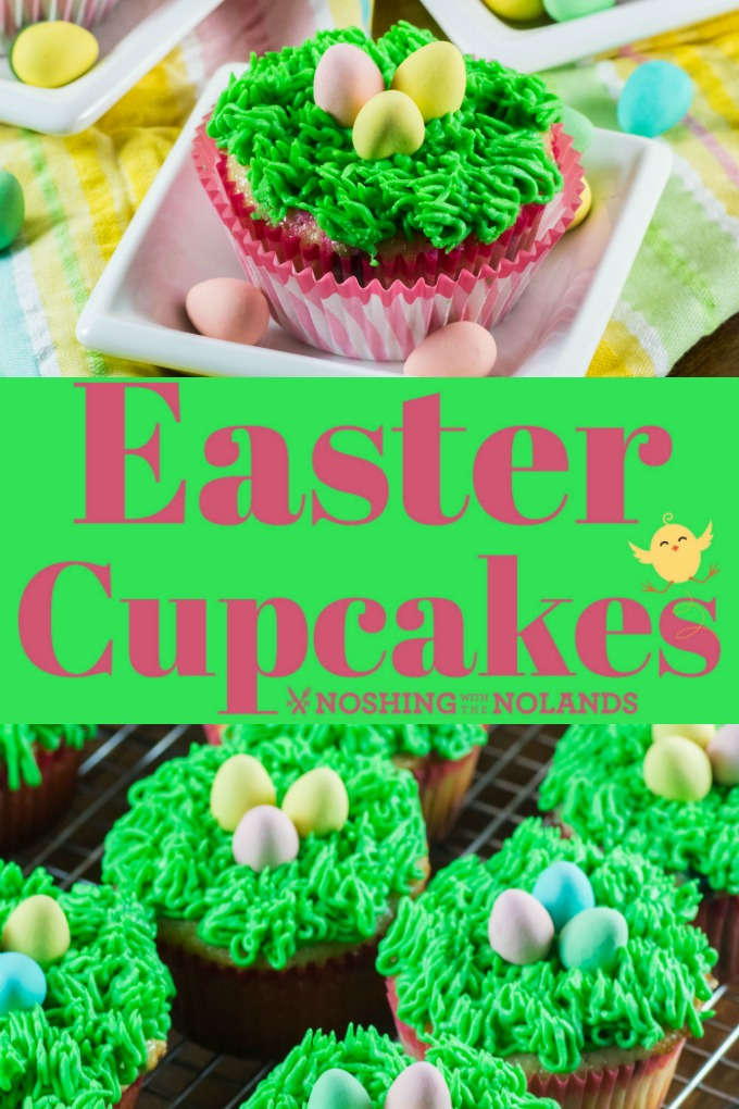 Easter Cupcakes made into little nests are as much fun to make as they are to eat!! #eastercupcakes #easter #cupcakes #nests #grassicing