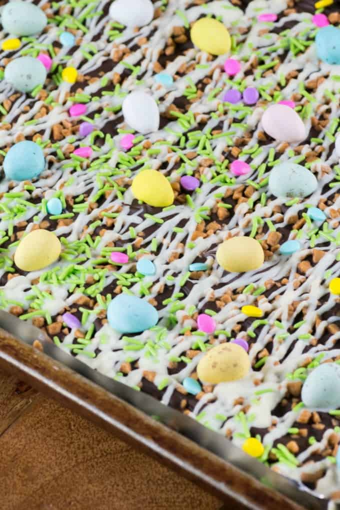Easter Toffee Bark on a sheet pan