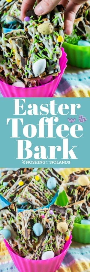 Sweet toffee bark is decorated with pastel-colored Easter sprinkles and candy-coated chocolate Easter eggs for the perfect spring holiday treat. #easterbark #toffeebark #bark #candy