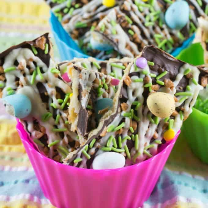 Easter Toffee Bark in bowls