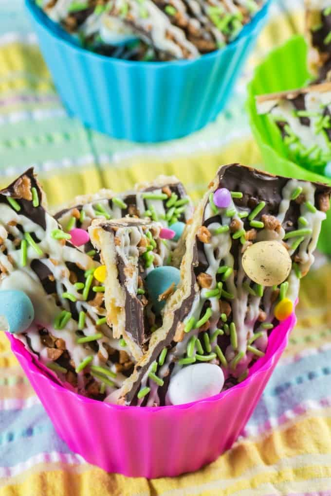 Easter Toffee Bark in cups