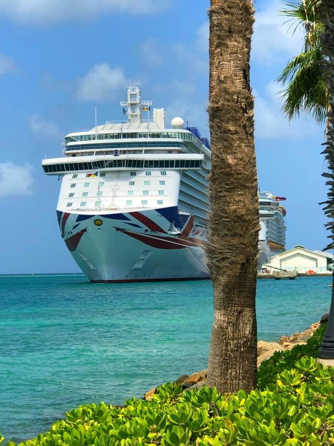 Cruise ship in port in Aruba