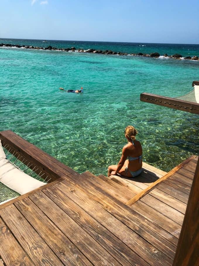 Snorkeling from the cabana, Aruba