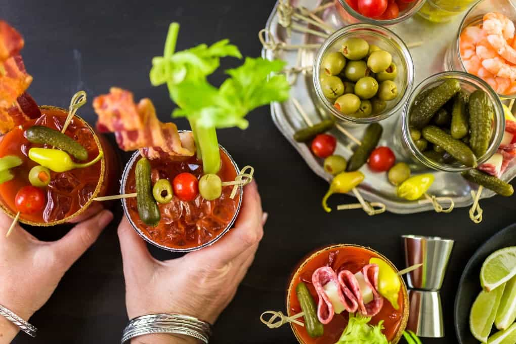 Two Caesars or Bloody Marys with an assortment of garnishes