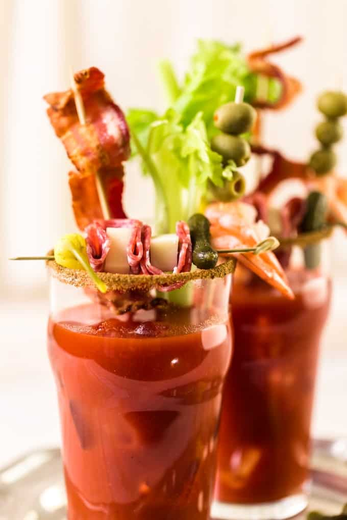 Bloody Mary or Caesar in a tall glass with garnishes
