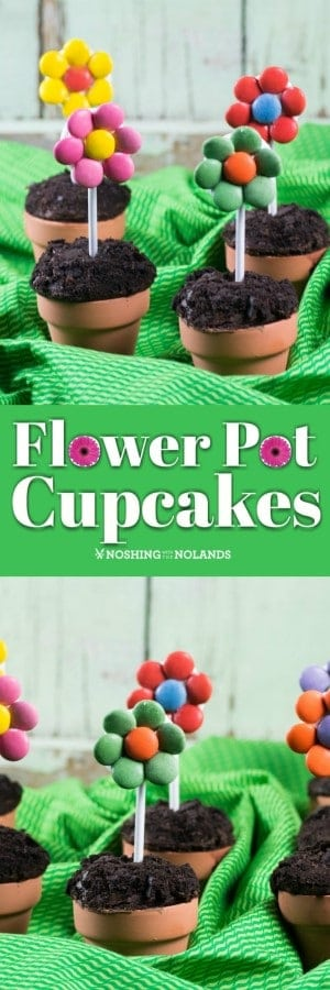 These adorable Flower Pot Cupcakes are perfect for any spring or summer gathering. They also make a very fun edible craft for young and old to make!! #flowerpotcupcakes #cupcakes #ediblecraft