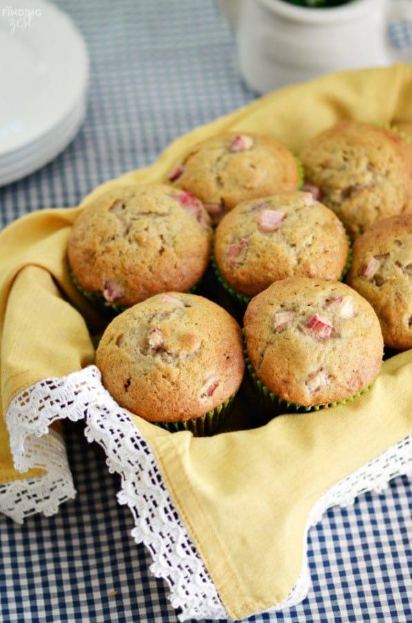 Rhubarb Banana Muffins in a basket