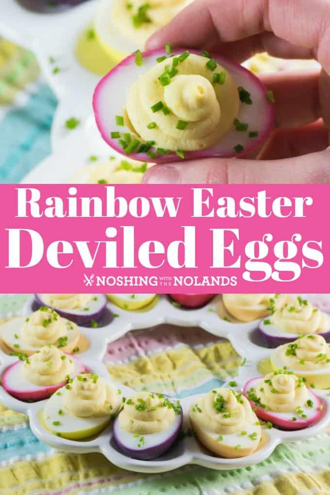 Rainbow Easter Deviled Eggs pin for Pinterest