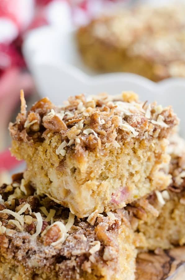 Rhubarb Streusel Coffee Cake piled high