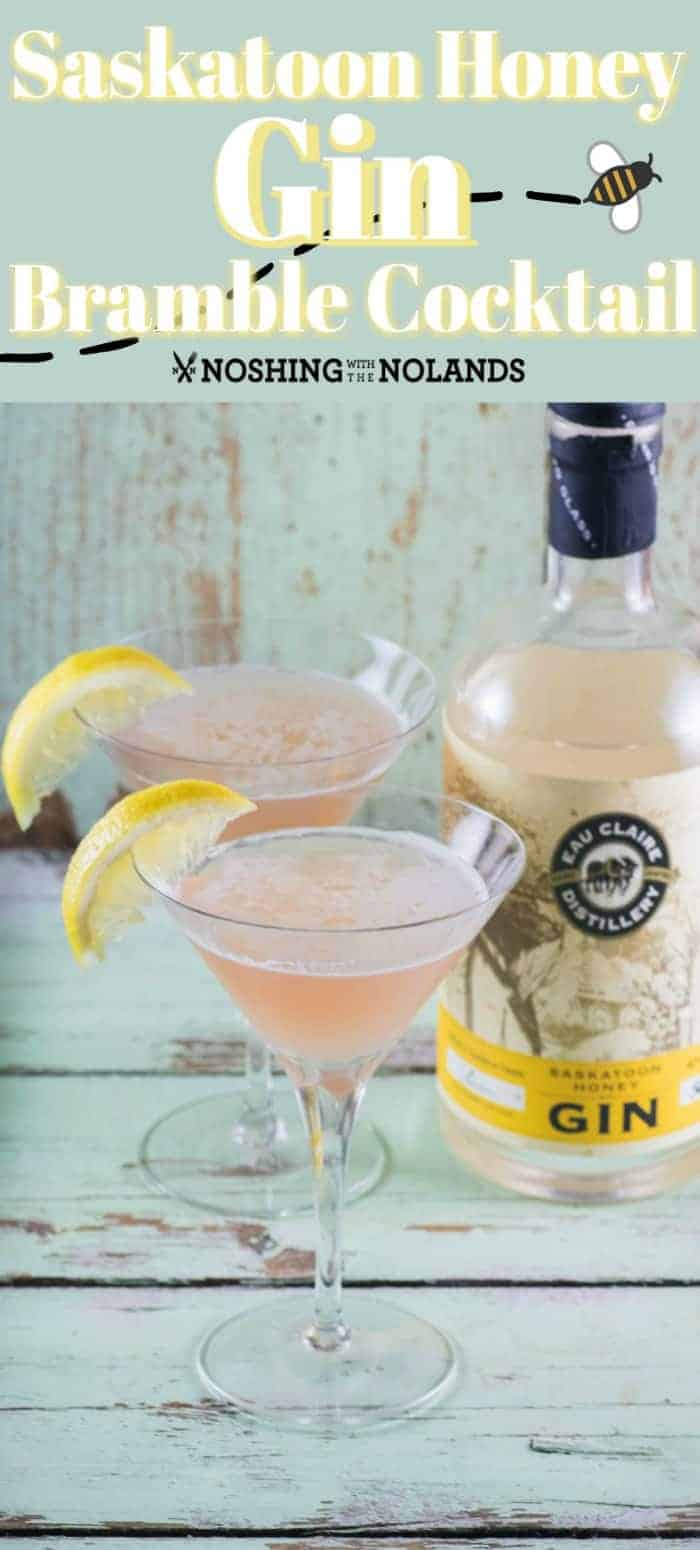 This Saskatoon Honey Gin Bramble Cocktail is the perfect libation for spring with it's sweet tart flavor! #gin #Saskatoonberries #lemon #honey #ShareEauClaire