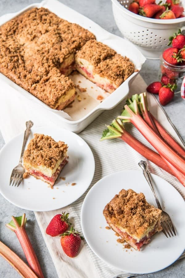 Strawberry Rhubarb Coffee Cake served up on white dishes