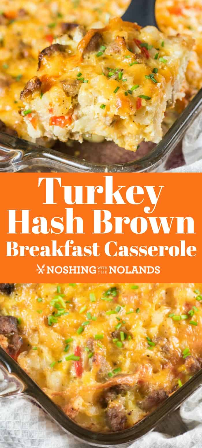 This amazing Turkey Sausage Hash Brown Breakfast Casserole is perfect for a brunch for Easter, Mother's Day, Father's Day or anytime!! #turkey #hashbrowns #casserole #brunch