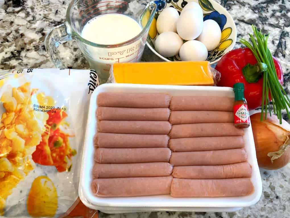 Turkey Sausage, eggs, milk, cheese, red pepper, onion, Tabasco, hash browns