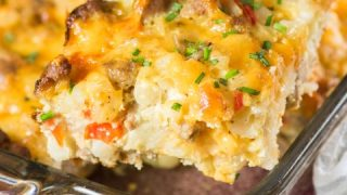 Turkey Sausage Hash Brown Breakfast Casserole