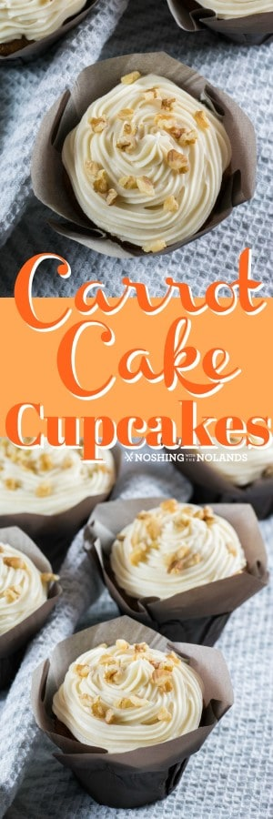 Carrot Cake Cupcakes are a favorite treat to serve at anytime of the year!! Delicious cream cheese frosting makes them irresistible!! #carrotcake #cupcakes