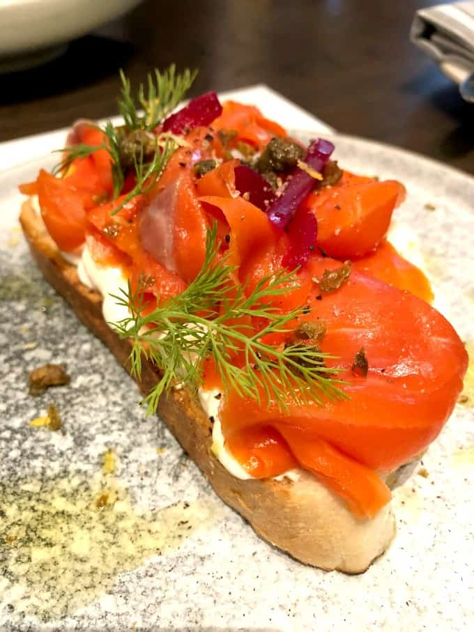 Lox Toast on a plate
