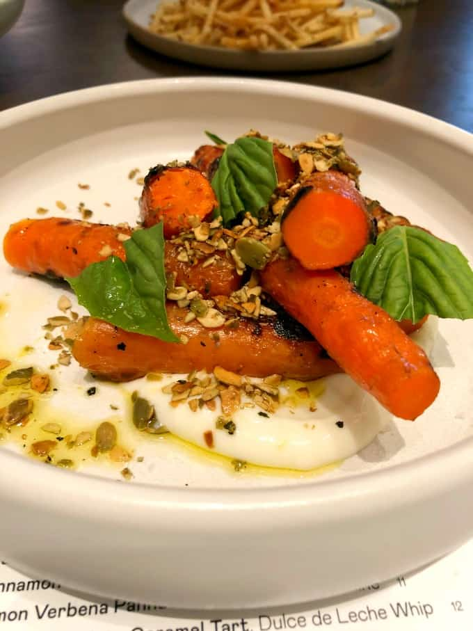 Carrots accompanied by Labneh, Gremolata and Basil
