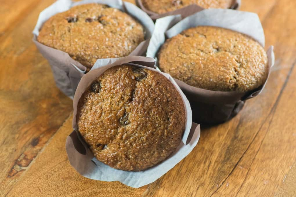 Bran Muffins on a wooden board